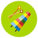 Xilofono delle icone dei giocattoli nello stile piano Immagine di vettore su un fondo colorato giro Elemento di progettazione, in Fotografie Stock Libere da Diritti