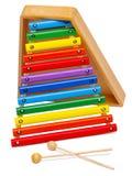 Xilofono di sviluppo del giocattolo del ` s dei bambini Isolato su bianco fotografia stock libera da diritti
