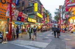 Ximending är källan av mode för Taiwan ` s, subkultur och japansk kultur Folket kan sett gå och att shoppa runt om den royaltyfria foton