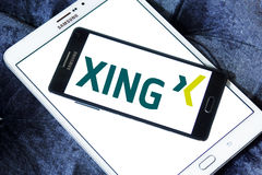 Xing social networking logo. Logo of social networking website xing on samsung mobile on samsung tablet Stock Photos