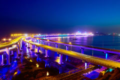The Xingahi bay cross sea bridge nocturne. The photo was taken in Xinghai bay Dalian city Liaoning province, China Royalty Free Stock Images