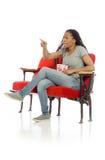 Xingamento e apontar irritados modelo Imagens de Stock Royalty Free