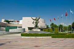 Современное здание концертного зала Xinghai и музыка придают квадратную форму в городе Гуанчжоу, городском пейзаже Китая Азии Стоковое Фото