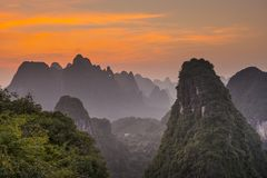 Xingping Landscape. Karst mountain landscape in Xingping, Guangxi Province, China Royalty Free Stock Image
