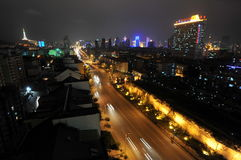 Xining at night. Night light highway in the centre of Xining city in western China Royalty Free Stock Photos