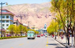 Xining scene. Street in front of the railway station stock photo