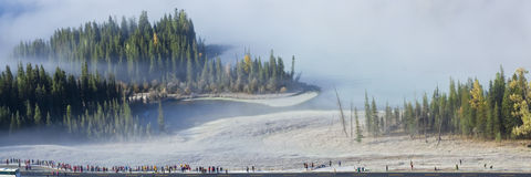 Xinjiang, China: bahía shenxian en la niebla de la mañana Foto de archivo