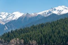 XINJIANG, CHINA - 9 de mayo de 2015: Montaña de la nieve en el lago heaven de T Fotografía de archivo