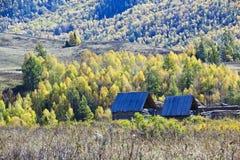 Xinjiang, china: huts in the mountains Stock Photo