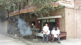 Xinjiang die lamsvleespennen roosteren stock video