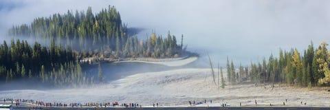 Xinjiang porslin: shenxian fjärd i morgonmisten Arkivfoto