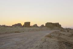 Xinjiang porslin: yardanglandforms Arkivfoto