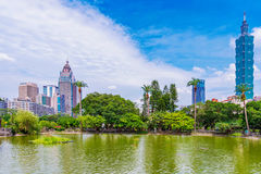 Xinyi financial district architecture with lake royalty free stock image