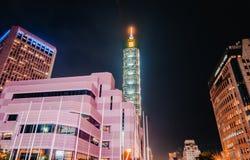Xinyidistrict en Taipeh 101 Wolkenkrabber, werden het gebouw officieel geclassificeerd als wereld het langst in 2004 tot 2010 royalty-vrije stock foto