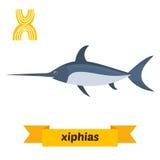 Xiphias επιστολή Χ Χαριτωμένο ζωικό αλφάβητο παιδιών στο διάνυσμα Funn ελεύθερη απεικόνιση δικαιώματος