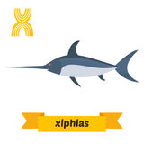 Xiphias. X letter. Cute children animal alphabet in vector. Funn Stock Photography