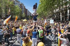 Xiquets del Serrallo Performing una colonna umana Fotografie Stock Libere da Diritti