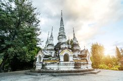 Xishuangbanna Baita Temple. White pagoda in Buddhist temple in Xishuangbanna, Sipsongpanna, or Sibsongbanna in the south of Yunnan province, People`s Republic of Royalty Free Stock Photo