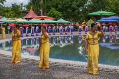 Xishuangbanna Dai Park Xiaoganlanba on splashing square dancers (God) who. Dai Songkran, also known as Buddha Day, Dai language called Sankan step (which means Royalty Free Stock Photo