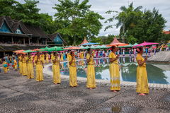 Xishuangbanna Dai Park Xiaoganlanba on splashing square dancers (God) who. Dai Songkran, also known as Buddha Day, Dai language called Sankan step (which means Royalty Free Stock Photography