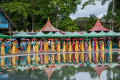 Xishuangbanna Dai Park Xiaoganlanba on splashing square dancers (God) who. Dai Songkran, also known as Buddha Day, Dai language called Sankan step (which means Royalty Free Stock Images