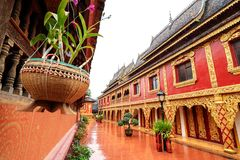Xishuangbanna temple architecture. Beautiful buildings in ancient temples in Xishuangbanna, Yunnan, China Stock Photography