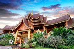 Xishuangbanna temple architecture. Beautiful buildings in ancient temples in Xishuangbanna, Yunnan, China Stock Photo