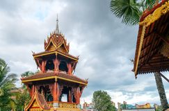Xishuangbanna temple architecture. Beautiful buildings in ancient temples in Xishuangbanna, Yunnan, China Royalty Free Stock Photography