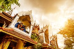 Xishuangbanna temple architecture. Beautiful buildings in ancient temples in Xishuangbanna, Yunnan, China Royalty Free Stock Photo