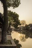 Xitang Ancient Watertown scenery in the morning royalty free stock image
