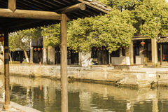 Xitang Ancient Watertown scenery in the morning stock image