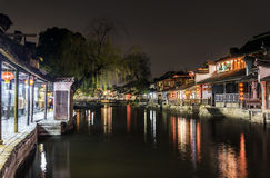Xitang Ancient Watertown scenery at night Royalty Free Stock Photos
