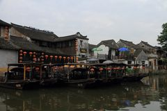 Xitang Water Village,Dark mat boats Stock Photography
