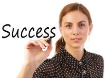 Éxito de la escritura de la mujer de negocios Fotografía de archivo