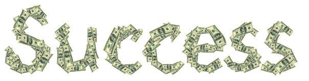 Éxito de la leyenda hecho de dólares como símbolo del éxito financiero Imagen de archivo