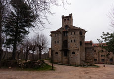 Xiv century antique castle in  Monsenny National Park, Catalonia. Spain Stock Image