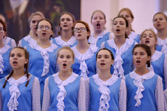 The XIV International Festival of Choral Art Singing World. Cathedral of Saints Peter and Paul. St. Petersburg, Russia Stock Images
