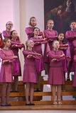 The XIV International Festival of Choral Art Singing World. Cathedral of Saints Peter and Paul. St. Petersburg, Russia Stock Photo