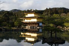 XIVth世纪鹿苑寺金黄寺庙京都 库存图片