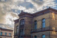 XIX世纪在Jugendstil样式的工厂修造 库存图片