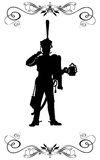 XIX century - 3. Silhouette of a Russian hussar, holding a mug of beer Royalty Free Stock Photo