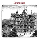 XIX century engraving: sanatoriun, health resort and medical fac Stock Photos