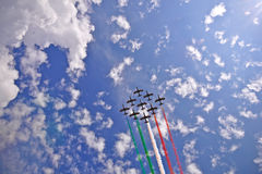 XIX National Gathering of Italian Air Force. TURIN, ITALY - JUNE 11: The fly by of Frecce Tricolori (Tricolour Arrows) acrobatic aircraft team during the XIX Stock Images