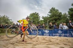 XIX sparkar upplagan av det Valencia City cyclo-korset av Arkivfoto