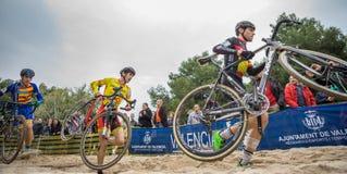 XIX sparkar upplagan av det Valencia City cyclo-korset av Fotografering för Bildbyråer