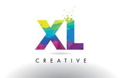 XL x L vettore variopinto di progettazione dei triangoli di origami della lettera illustrazione di stock