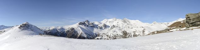XL panorama of italian Alps in winter Stock Photos