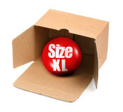 XL size concept. Open cardboard box and 3D sale ball, photo does not infringe any copyright Stock Photo