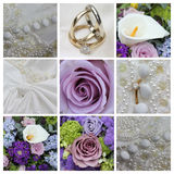 Wedding collage in purple Stock Photography