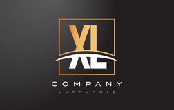 XL X L Golden Letter Logo Design with Gold Square and Swoosh. Royalty Free Stock Photography
